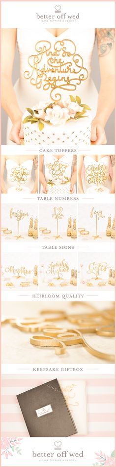 Over a hundred hand lettered, handmade cake toppers + matching wedding decor you won't find anywhere else. Find your perfect one at www.betteroffwed.co