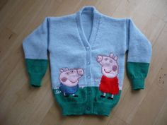 Peppa Pig Cardigan Knitted to Order Age 1 2 3 4 by juliesjumpers, ?18.50 Co...