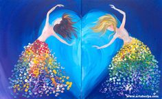 Sisters Dancing is a magical Beginner art lesson. This simple double canvas paint along can be done as one canvas or as a couple paint nite date night. This is a step by step acrylic Class dedicated to the love between sisters. May it light our lives and beyond !! PS Qtips are a brush in this :)