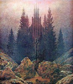 Gotycyzm w malarstwie Krzyż i katedra w Karkonoszach, Caspar David Friedrich