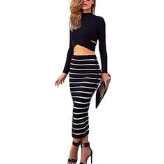 Womens Black Striped Long Sleeve Crop Top High Waist Bodycon Midi Pencil Skirt 2 Piece Set (XL): Amazon.co.uk: Clothing
