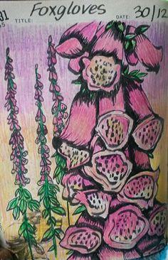 Foxgloves drawing Draw Flowers, Flower Doodles, Vera Bradley Backpack, Artworks, Brown, Drawings, Life, Art Pieces, Drawing