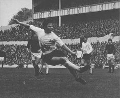 13th August 1969. Tottenham Hotspur youngster Steve Perryman shooting for goal against Burnley, at White Hart Lane.