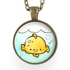 "Featuring an art print of my own original watercolor of a cute kawaii gold fish! Looks just like a fish bowl around your neck! - Pendant size: 1"" inch (25 mm) - Chain length: 24"" inches - Art print se"
