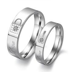 1 Piece Fashion Rhinestone Love Lock Ring Titanium Steel Couple Wedding Ring Set His And Hers Promise Ring Sets Anillos De Boda Wedding Rings Sets His And Hers, Matching Wedding Rings, Wedding Band Sets, Matching Rings, Promise Rings For Couples, Couple Rings, Couple Jewelry, Promise Band, Titanium Rings