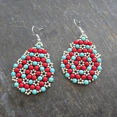 Turquoise Jewelry Beaded Earrings Statement Earring Red