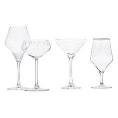 MID-CENTURY MODERN GLASS SET | $64 | Throw a mod cocktail party and match your toasts to your vintage wingtips. Featuring mid century-inspired etching, each glass is modeled after a classic silhouette for martinis, cognac, champagne, and wine. Most notably different is the champagne coupe, a chic departure from the now-traditional flute. Glassware made in Slovakia, decorated in USA.
