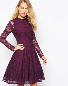 High neck mulberry lace dress. I'm in love! I'd wear this with nude heels.