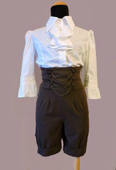 Steampunk Pants, Steampunk short pants,Victorian Pants,Bloomer pants, Kodona pants, High waist pants,Steampunk Bloomers,Pirate Short pants