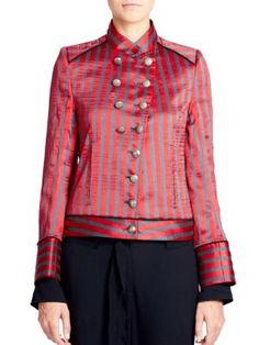 Ann Demeulemeester Woman Double-breasted Striped Satin-twill Jacket Red Size 40 Ann Demeulemeester Free Shipping The Cheapest Cheap Sale Pay With Visa Good Selling Low Price Fee Shipping Cheap Price Pre Order JSn0k