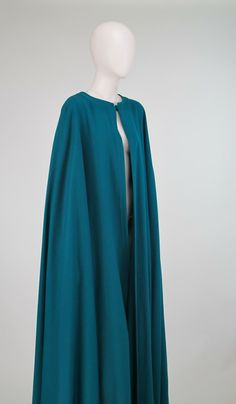 1970s Yves St Laurent teal wool cape
