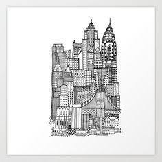 New York Art Print by Sol Fernandez - $15.00