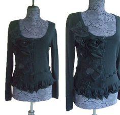 Ruffled Floral Cardigan Sweater Jacket M/L von RebeccasArtCloset