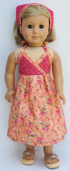 American Girl Dress Coral and Peach by LoriLizGirlsandDolls, $24.00