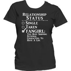 Relationship Status Fangirl, Ladies, Unisex Mens T Shirt, Fandom,... ($33) ❤ liked on Polyvore featuring men's fashion, men's clothing, men's shirts, men's t-shirts, tops, shirts, pattern tops, print shirts, tee-shirt and t shirts