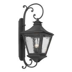 Manor Outdoor Wall Lantern In Charcoal And Water Glass 6712-C