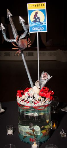 Little Mermaid Centerpiece Broadway Bat Mitzvah #BatMitzvahCenterpiece for rent Broadway party theme ideas #DIY #Broadway #DIYCenterpiece