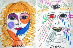 Art Therapy Directives - happiness book, emotions color wheel, boundary drawing, spirit doll, inside/outside mask, and more!