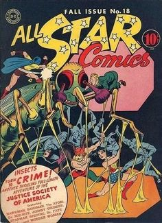 cool All Star Comics # 18 Justice Society Dr. Dc Comic Books, Comic Book Covers, Pulp Fiction Comics, Star Comics, Dc Comics, Dr Fate, Johnny Thunders, Justice Society Of America, Wonder Woman Art