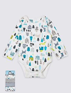 5 Pack Pure Cotton Animal Print Bodysuits   M&S