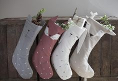 Fabelab Julesok / Christmas stocking Size: 30 x 54 cm Designed in Denmark | Made in India. Available in 4 Colours: Fox: rosewood Bunny: white Bear: grey Deer: beige