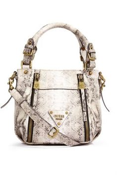 6f648ccdc413 Presley Printed Small Zipper Satchel at Guess