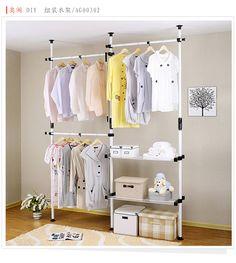 Fresh Creative the assembled cabinet floor storage furniture space saving wardrobe Korean coat rack clothes rack