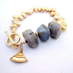 Gray Labradorite Bracelet Gold Jewelry Pearl by jewelrybycarmal, $42.00