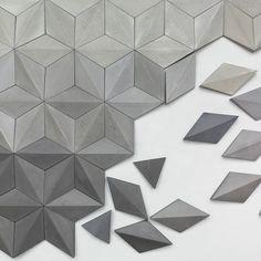 Moduuli KIVI - 3-dimensional geometric concrete tiles.    @kingkongdesign  #moduuli #moduuliKIVI #concretetiles #cementtiles #beton #kafle #tiles #3dwalltiles #walltiles #wallcovering #greywalls #greyscale #geometry #geometricwallart #geometrictiles #origami #original #uniquedesign #uniquegifts #minimalist #minimalistdesign #diamond #diamondtiles #walltexture #wallsculpture Geometric Wall Art, Geometric Patterns, 3d Wall Tiles, Paper Art, Paper Crafts, 3d Wall Panels, Concrete Tiles, Concrete Projects, Texture Design