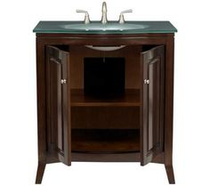 Espresso Wood with Glass Top Bathroom Vanity Sink | 55DowningStreet.com