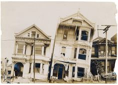 Photograph of the Effect of Earthquake on Houses After the 1906 San Francisco Earthquake, 1906, U.S. National Archives,