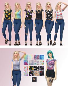 Hi! Here are some shirts with cute designs for your sims  • 19 swatches  • Base game compatible *a little mesh edit*  Enjoy :D  DOWNLOAD   check out my other CC