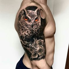 Amazing tattoo. .!!   Credit :  @paolomurtastattoo -  Still in progress  . .  For amazing owl photos and videos follow @owl.gifts #owl #owls #owllove