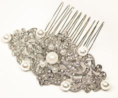 http://www.haircomesthebride.com/classic-vintage-bridal-hair-comb-rachel-rhinestone-pearl-or-rhinestone/  Classic Vintage Bridal Hair Comb ~ Rachel - Designer Bridal Hair Accessories & Jewelry by Hair Comes the Bride including Hair Combs, Bridal Hair Pins, Tiaras, Headbands and Veils