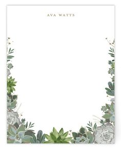 This Personal Stationery Features A Boarder Of Detailed Succulents. Botanical, White Personalized Stationery From Minted By Independent Artist Susan Moyal. Blank Background, Creative Background, Background Pictures, Flower Picture Frames, Flower Frame, Cute Wallpaper Backgrounds, Flower Backgrounds, Watercolor Invitations, Floral Invitation