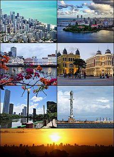 """Do topo, em sentido horário: vista aérea do bairro de Boa Viagem; Ilha de Antônio Vaz e pontes do Centro do Recife; Marco Zero; """"Torre de Cristal"""" no Parque das Esculturas Francisco Brennand; pôr do Sol com um panorama da cidade; Rio Capibaribe e o bairro da Jaqueira; e Rua da Aurora."""