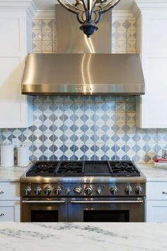 Byzantine 7 in off white & pewter inset. Tile from H.J. Martin design by Katie Krause.