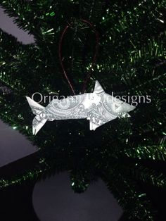Money Origami SHARK Christmas Tree Ornament