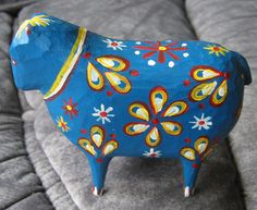 Swedish wooden blue Dala-painted ewe