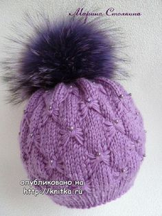 Amazing knitted hat with a pattern of \'butterfly\' and a fur pompon! Knitting For Kids, Baby Knitting Patterns, Knitting Stitches, Crochet Patterns, Knit Mittens, Knitted Hats, Butterfly Stitches, Cute Hats, Girl With Hat
