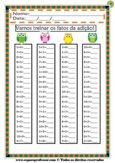 CADERNO%201%20ADICAO%20E%20SUBTRACAO%20V Addition And Subtraction Practice, Math Addition, Math Sheets, School Frame, Preschool Writing, Kindergarten Math Worksheets, Math Help, Math Facts, Math For Kids