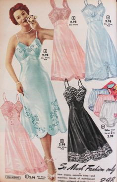 slips long vintage More - Lingerie History - Bras, Girdles, Slips, Panties, Garters Vintage Slip, Moda Vintage, Vintage Mode, Retro Lingerie, Jolie Lingerie, 1950s Style, 1950s Fashion, Vintage Fashion, Emo Fashion