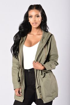 - Available in Black and Olive - Hooded - Front Zipper Closure - Drawstring Cord - 2 Cargo Pockets - 100% Cotton