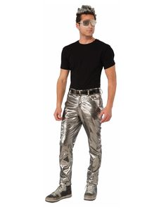 These silver pants are the perfect bottoms to your cyborg, alien, robot or futuristic costume! These pants are great for a variety of different costume ideas and look great! Pants are standard size fo