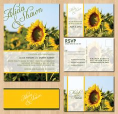 Printable Sunflower Wedding Invitations