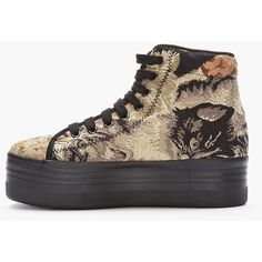 JEFFREY CAMPBELL Olive Cat Tapestry Homg Platform Sneakers ($80) ❤ liked on Polyvore