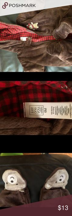 Carter's 6 month winter coat Carters hooded coat bodysuit. Bears and plaid- very trendy. Soft and warm. Never worn Jackets & Coats