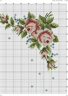 Cross Stitch Borders, Cross Stitch Patterns, Cross Stitch Pictures, Needle And Thread, Cross Stitch Embroidery, Needlepoint, Needlework, Diy And Crafts, Flowers