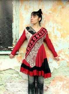 India sari embroidered recycled dress tunic hippie by jamfashion