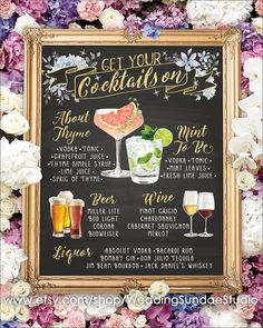 Digital Printable Winter Wedding Bar Menu Sign, His and Hers Signature Drinks Cocktails Watercolor Chalkboard Party Christmas New Year - Neujahr Tequila Sunrise, Martha Stewart Weddings, Mojito, Wedding Reception Signs, Wedding Ideas, Reception Food, Fox Wedding, Wedding Foods, Wedding Entrance